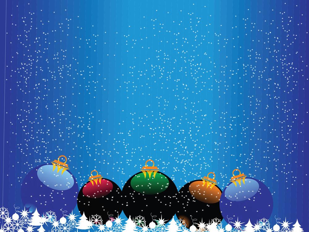 Snowfalls Background With Xmas Balls