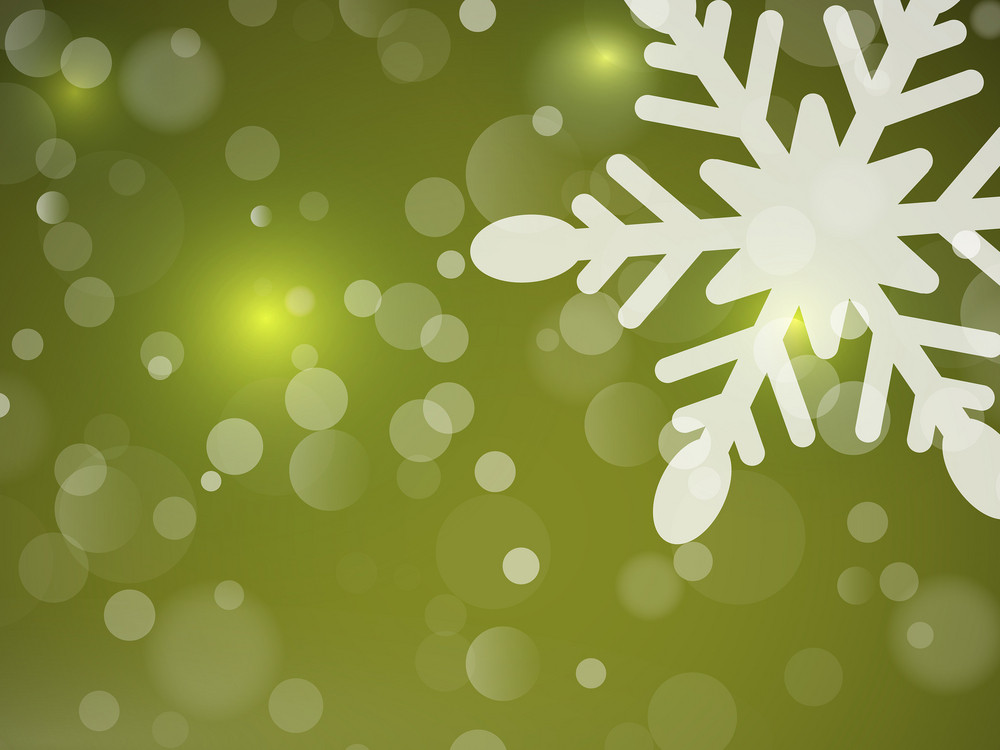 Snowflake On Green Background