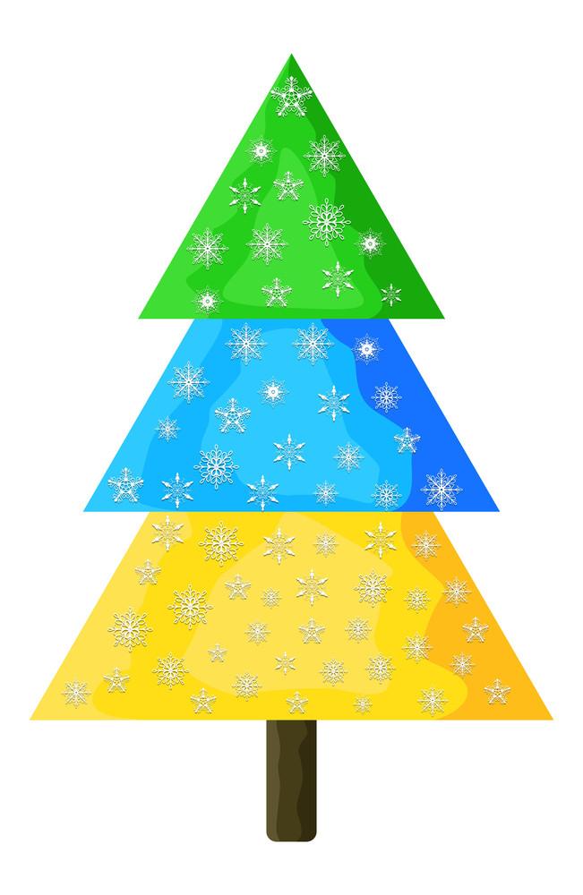 Snowflakes Colorful Christmas Tree
