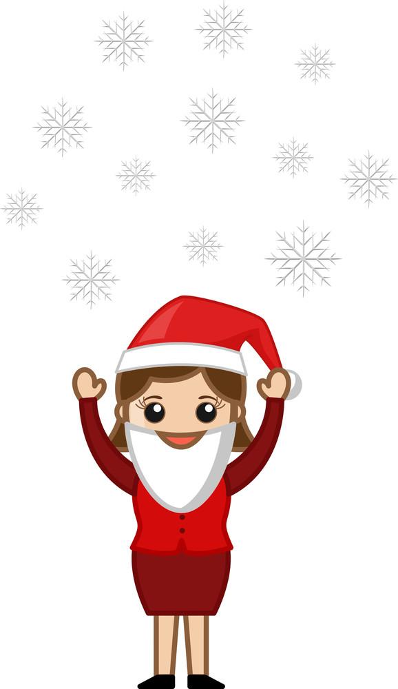 Snowflakes In Air - Woman In Santa Costume - Cartoon Character