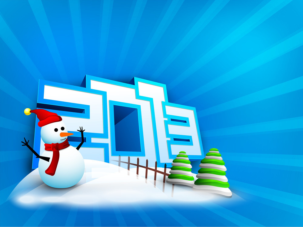 Snowman And Xmas Trees Decorated Background For 2013 Happy New Year