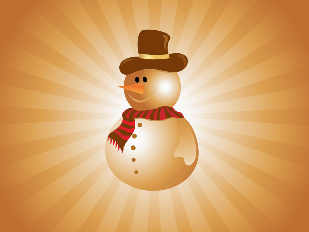 Snowman On Golden Abstract Background