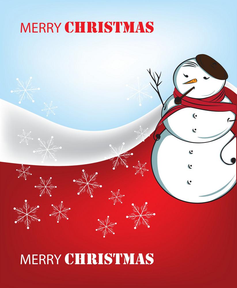 Snowman On Vinter Background