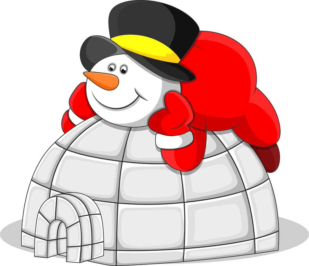 Snowman With Igloo House - Christmas Vector Illustration