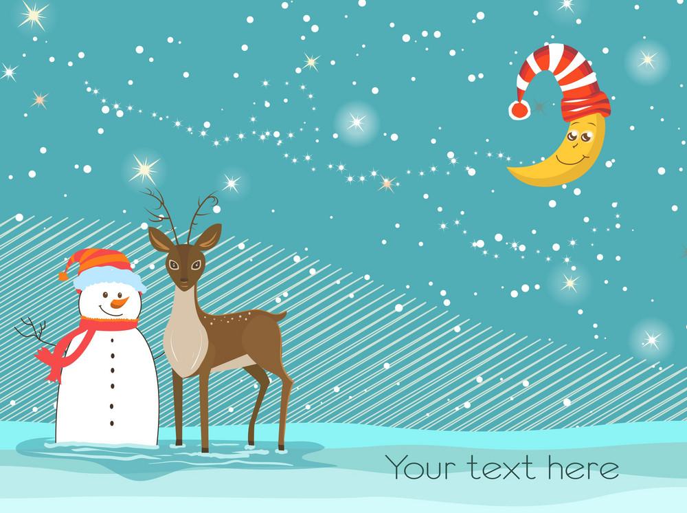 Snowman With Reindeer Vector Illustration
