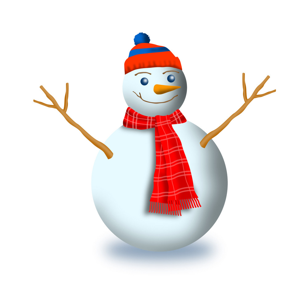 Snowman With Scarf And Beanie