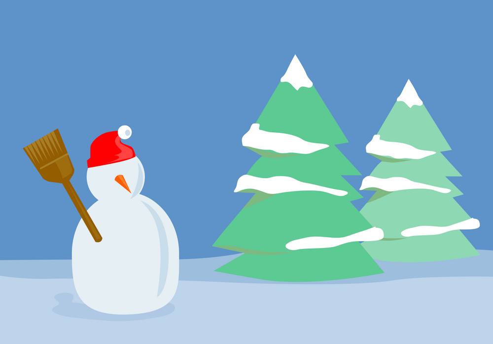 Snowman With Trees
