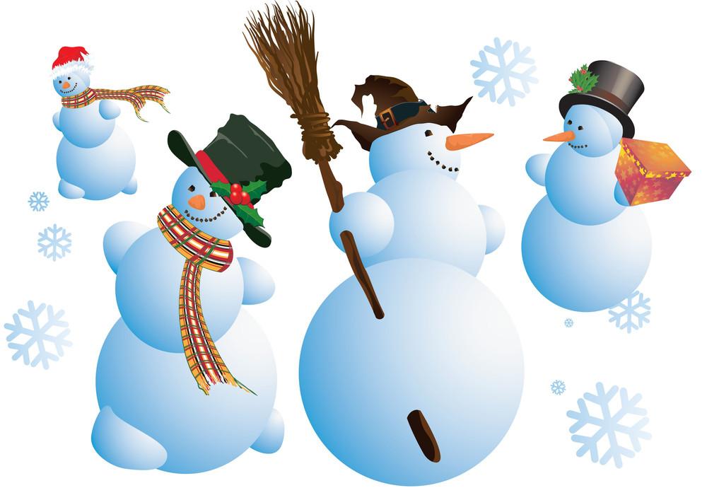 Snowmen In Action. Vector.