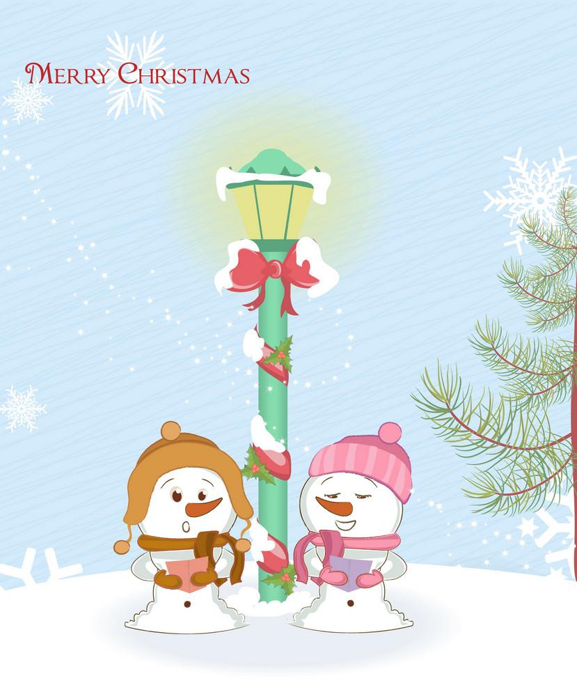 Snowmen With Street Light Vector Illustration