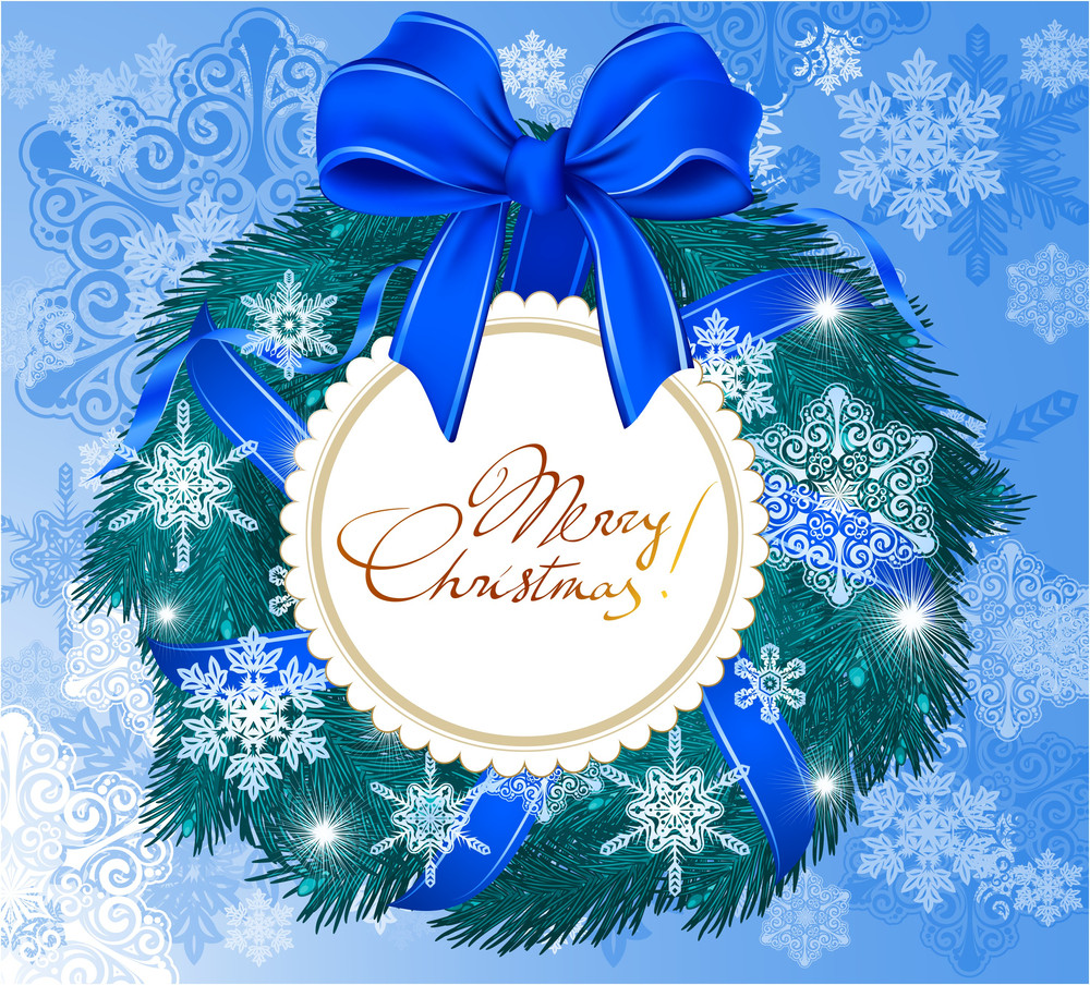Festão nevado do Natal com flocos de neve, arco azul e cartão de saudação. Vetor.