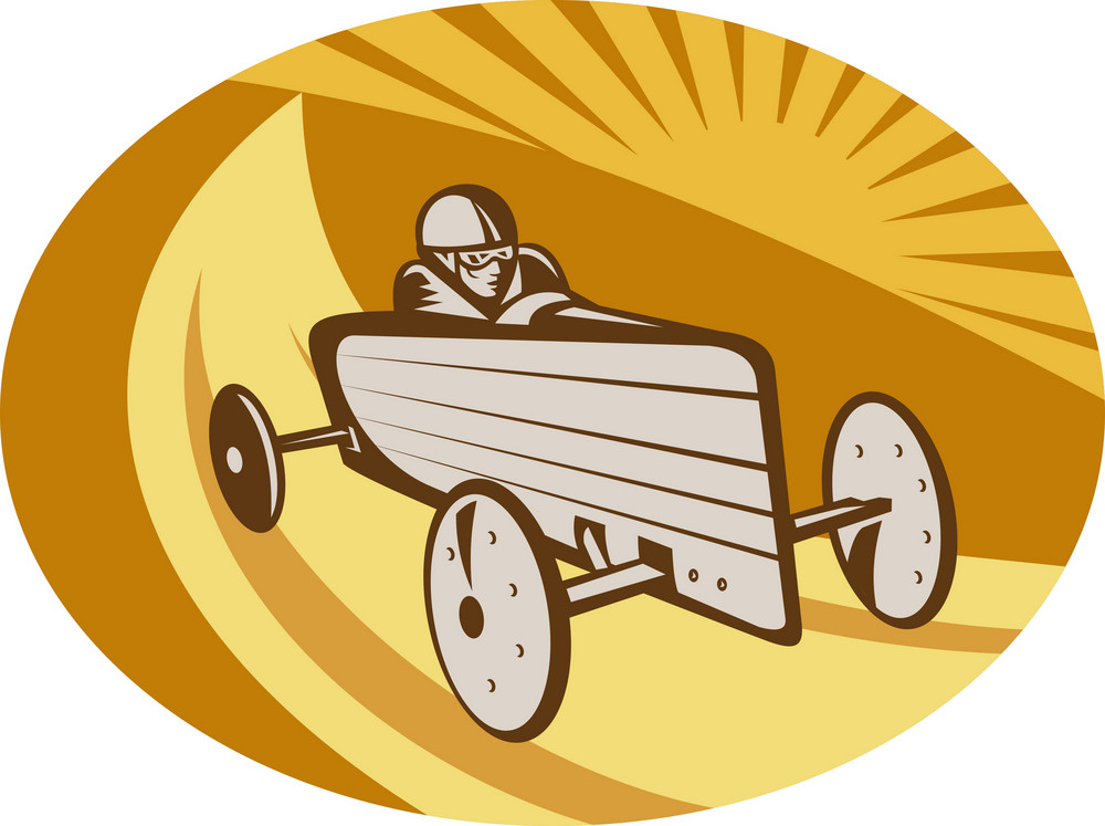 Soap Box Derby Car Racing With Sunburst