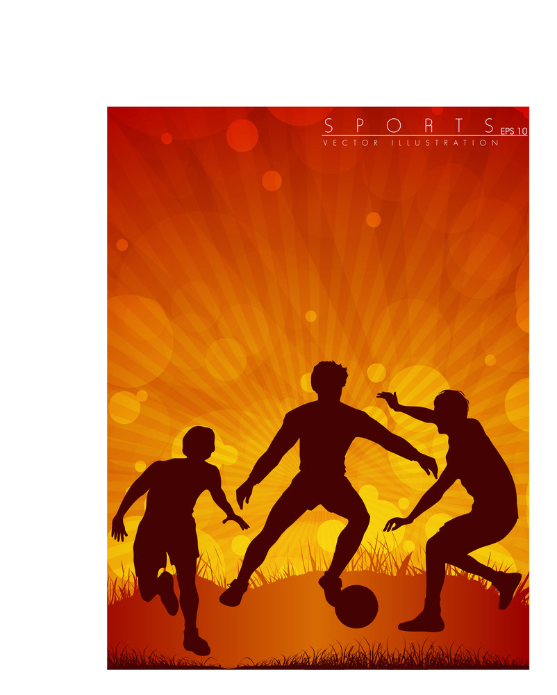 Soccer Action Player On Beautiful Abstract Background.