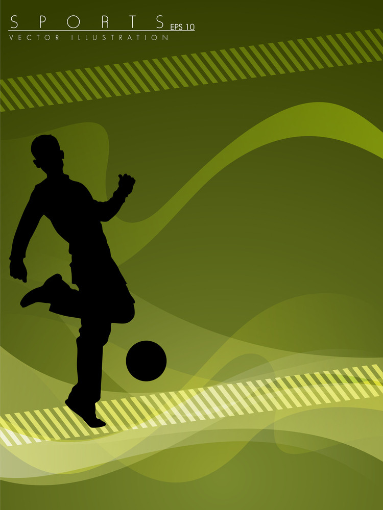 Soccer Ball Player With Abstract Background.
