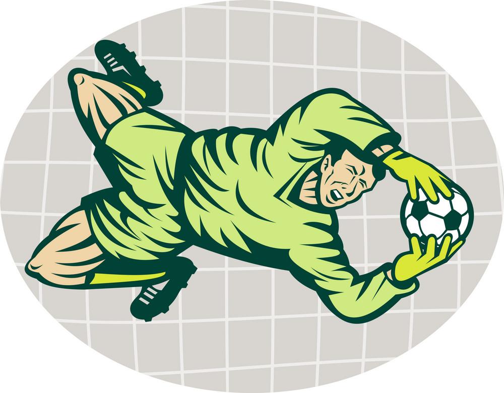 Soccer Football Goalie Keeper Saving Goal