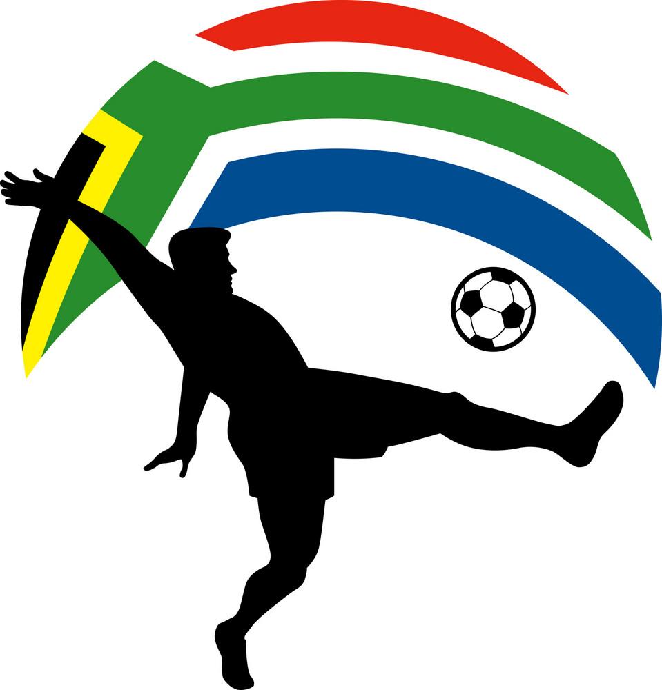 Soccer Football Player Ball Flag South Africa