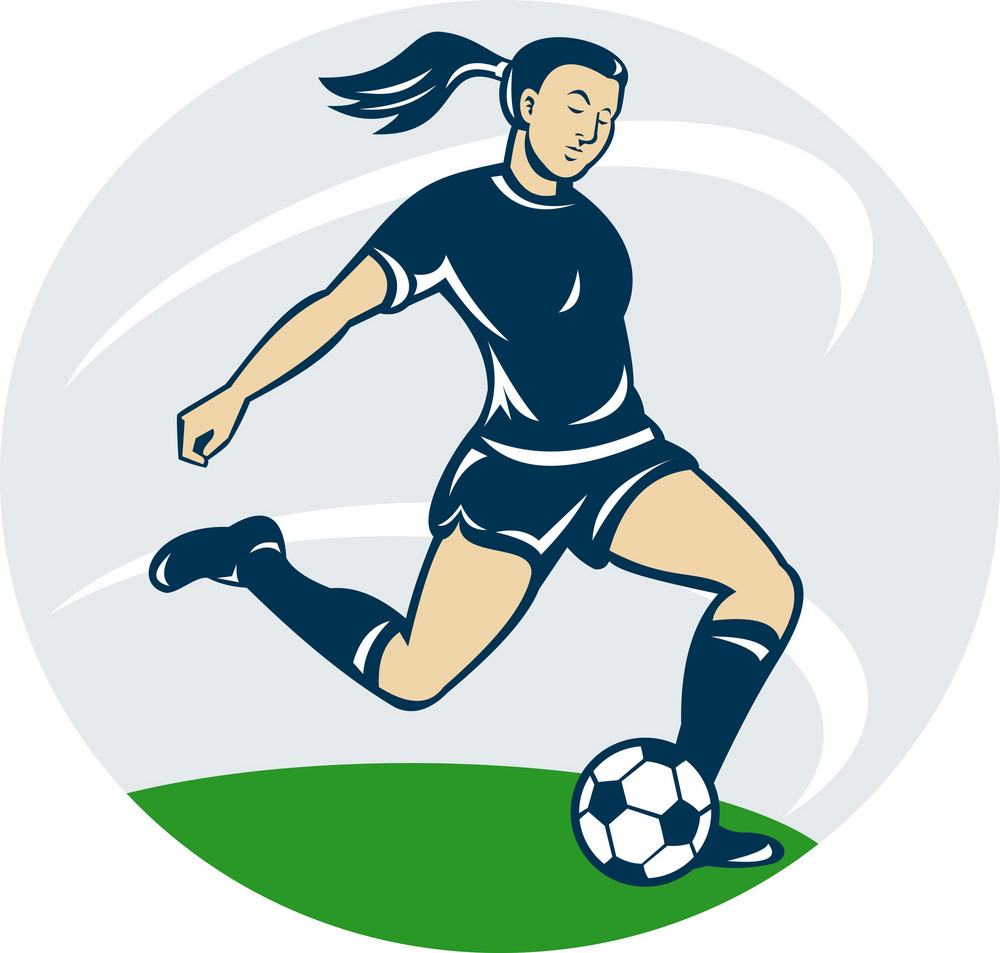 Soccer Player Woman Kicking Ball