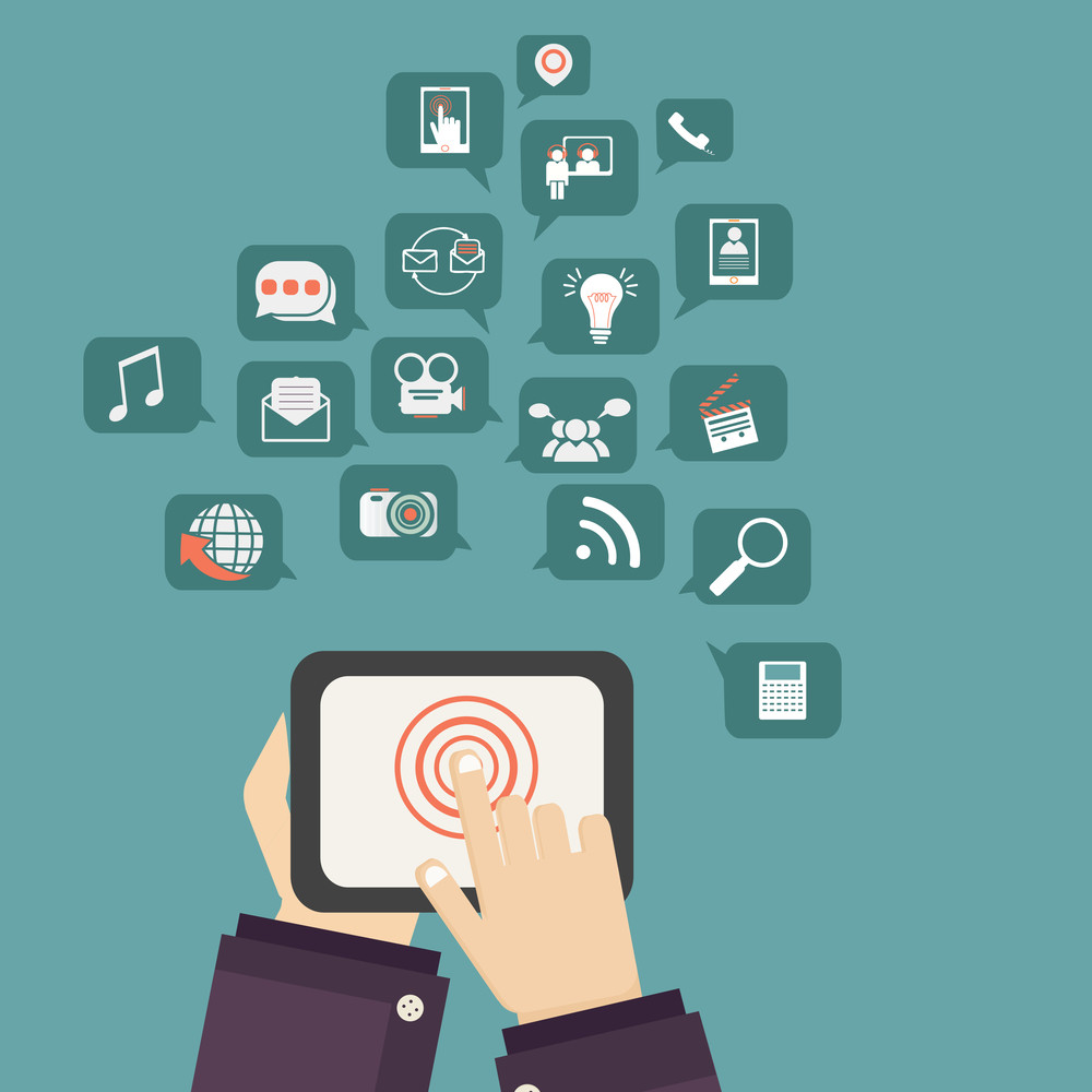 Social media and networking icons with human working on tablet.
