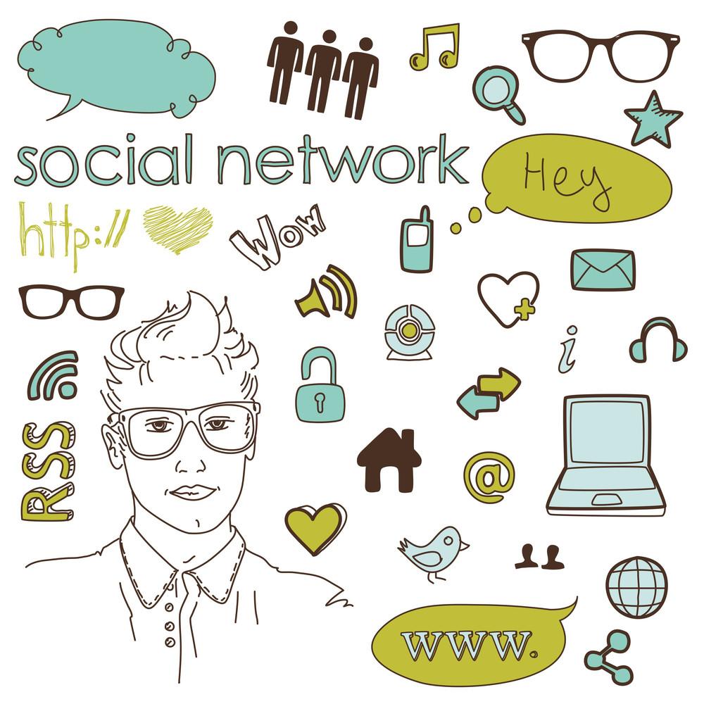 Social Media Network Connection Doodles
