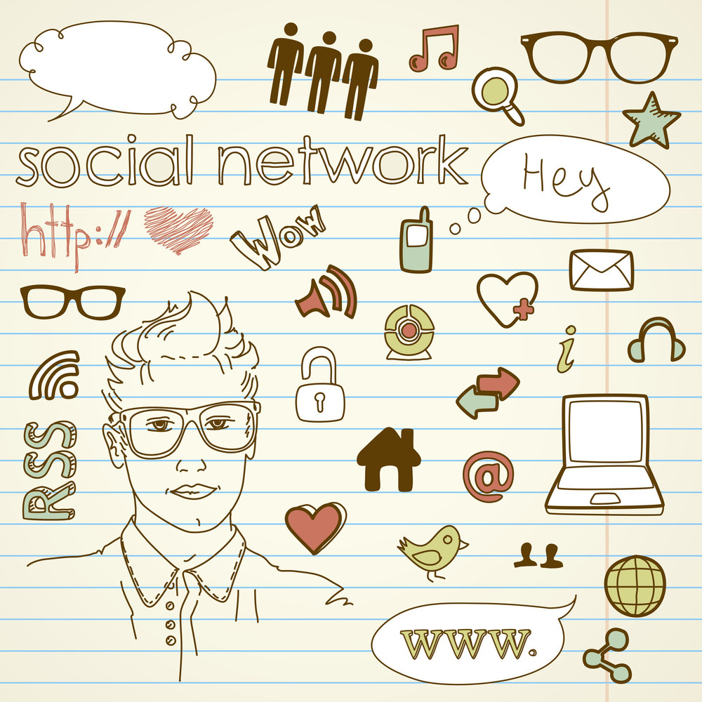 Social Media Network Connection Doodles-