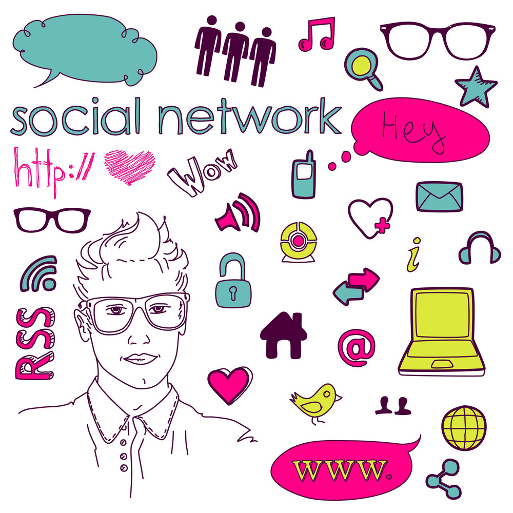 Social Media Network Connection Doodles