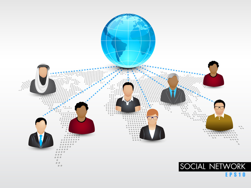 Social Networking 3d Background With People Connect With Network On Grey Abstract Background.