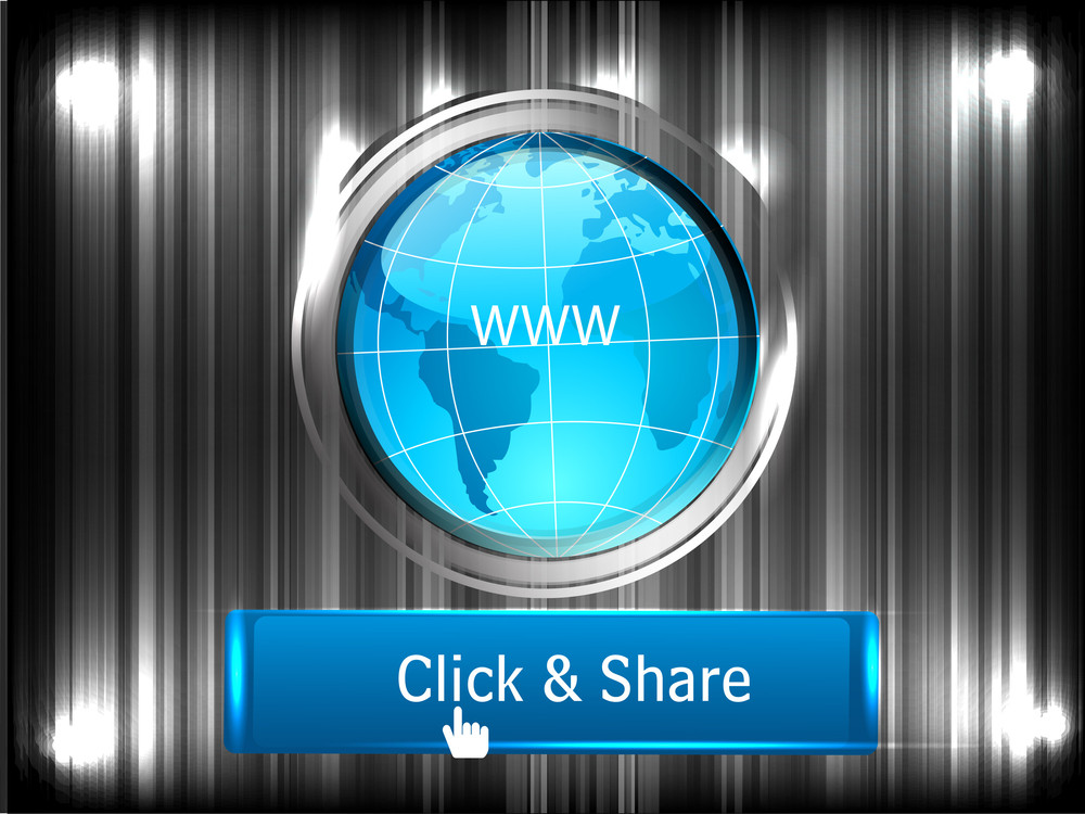 Social Networking Theme Displaying A Globe And Click And Share Concept.