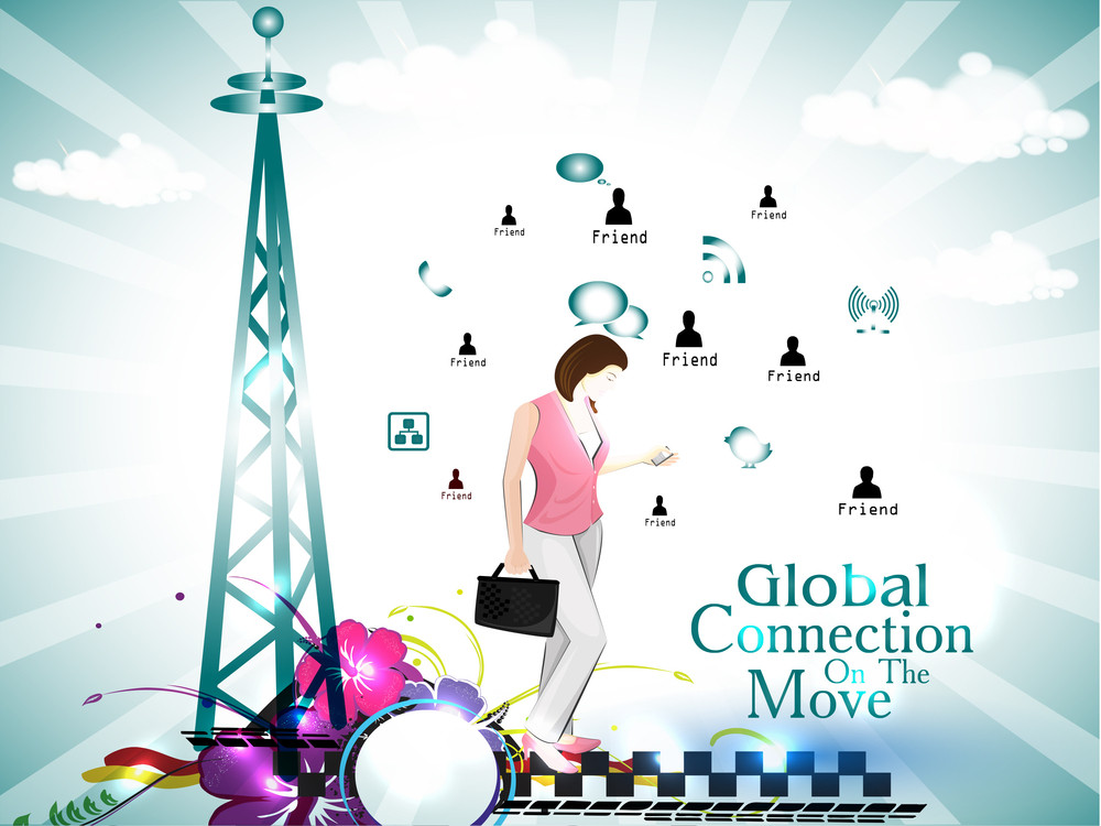 Social Networking Theme Displaying Global Connection On The Move.