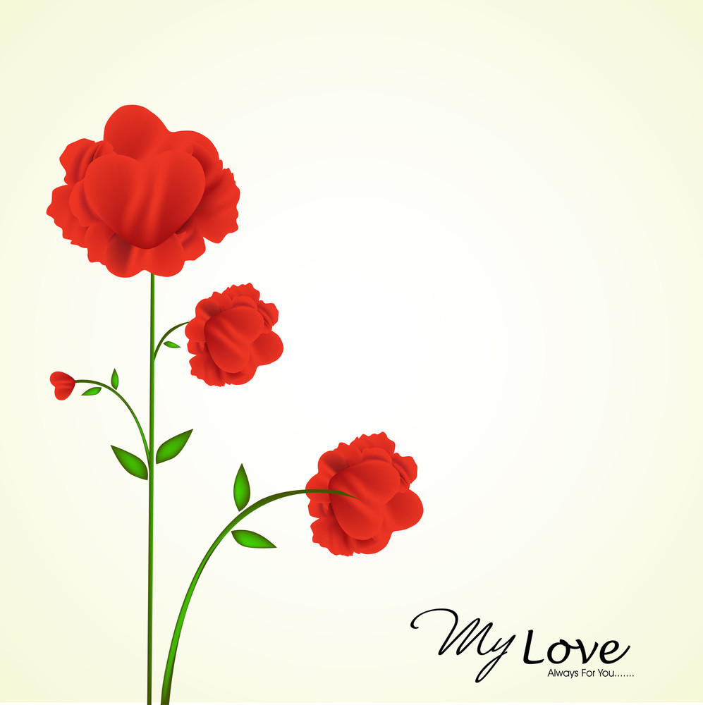 Soft And Red Heart Flower Illustration. Eps10