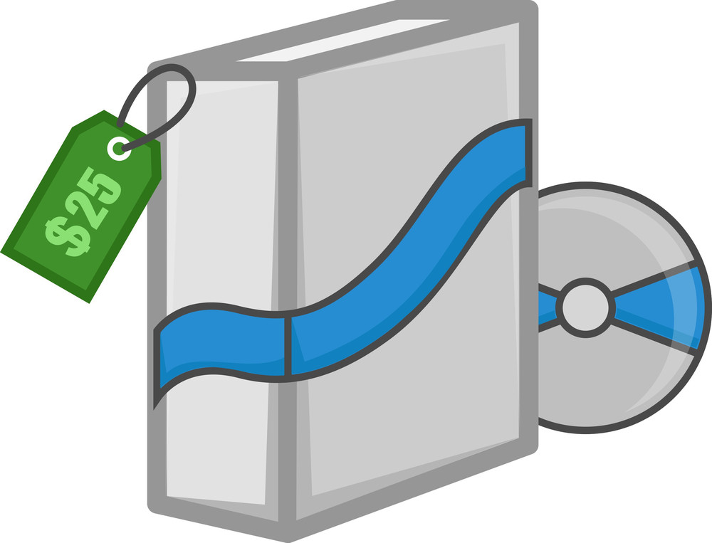 Software Box With Cd And Price Tag - Cartoon Style