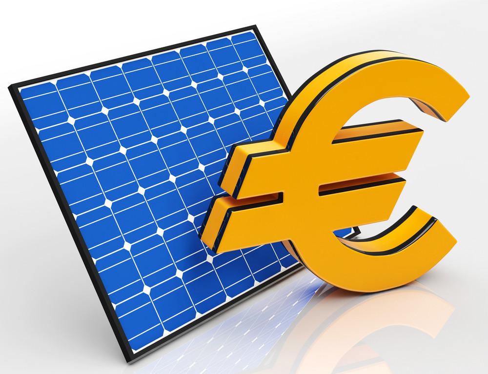 Solar Panel And Euro Shows Saving Money