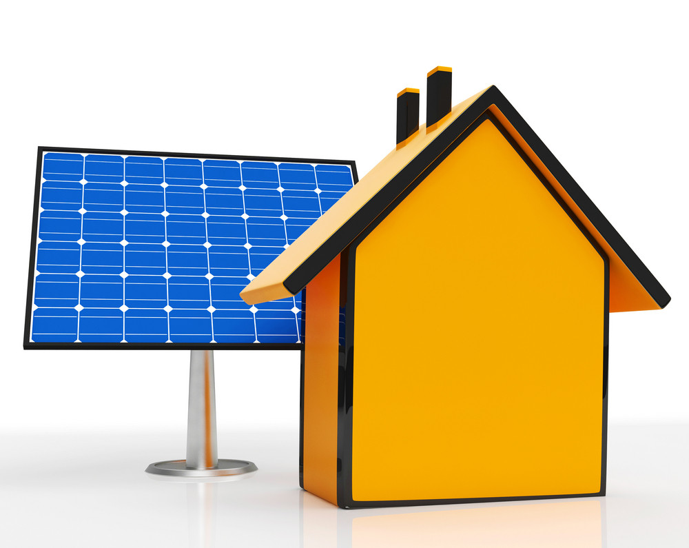 Solar Panel By Home Shows Renewable Energy