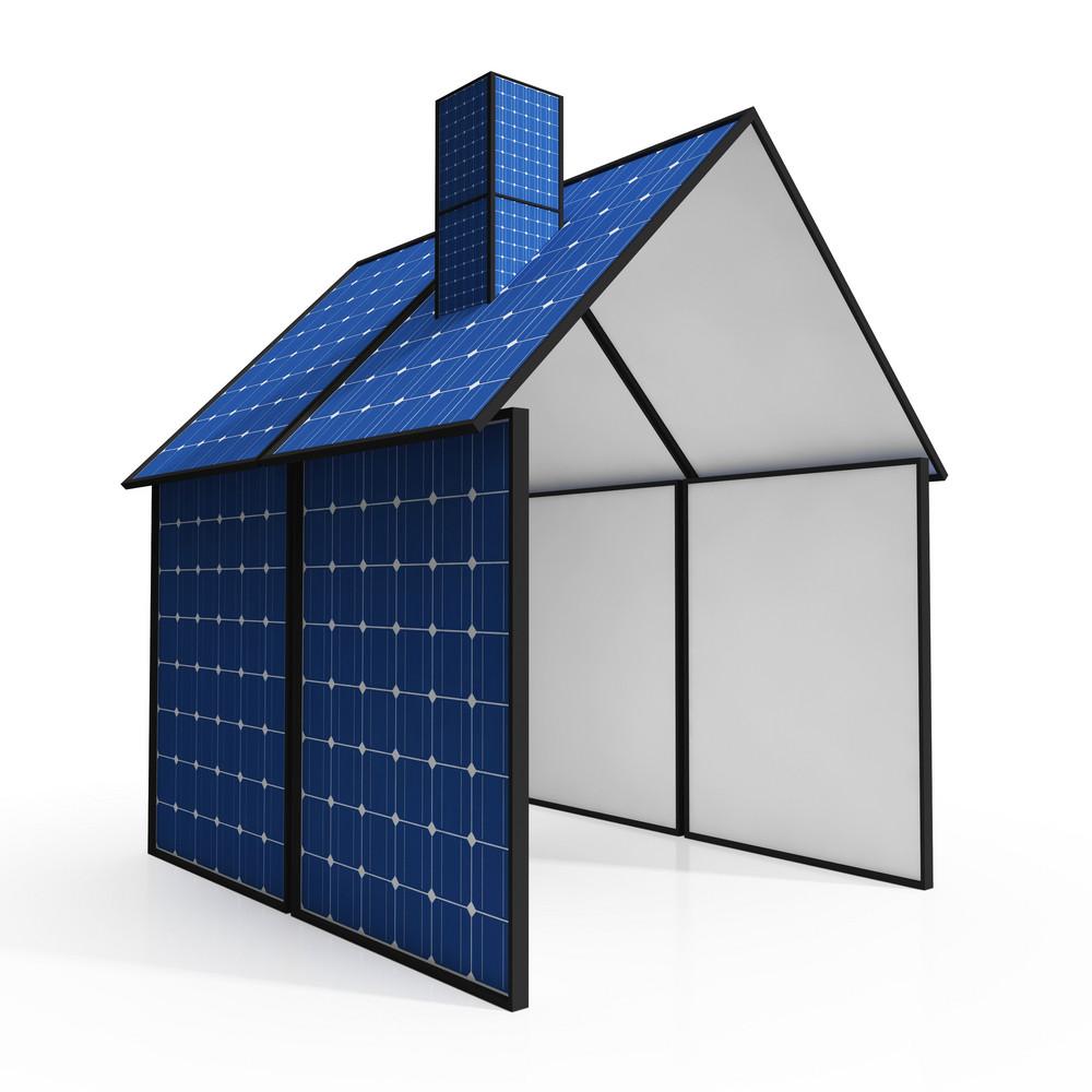 Solar Panel House Showing Renewable Energy