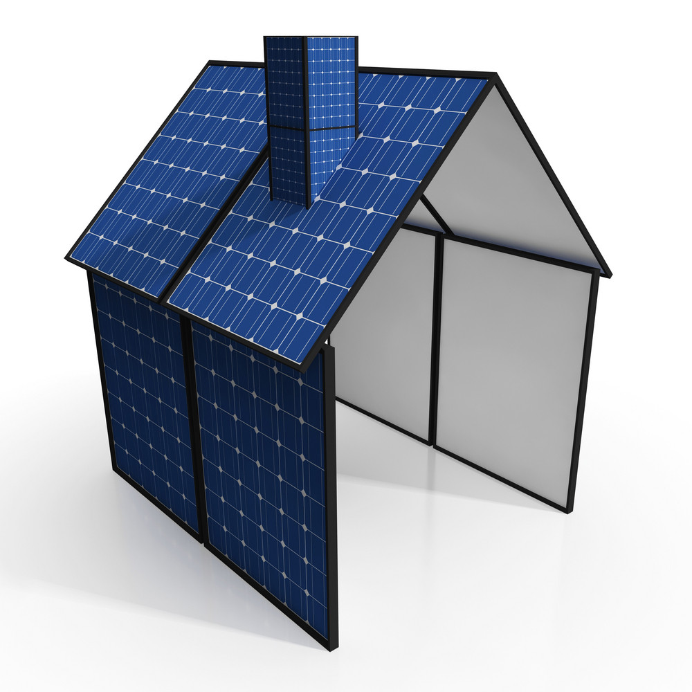 Solar Panel House Shows Renewable Energy