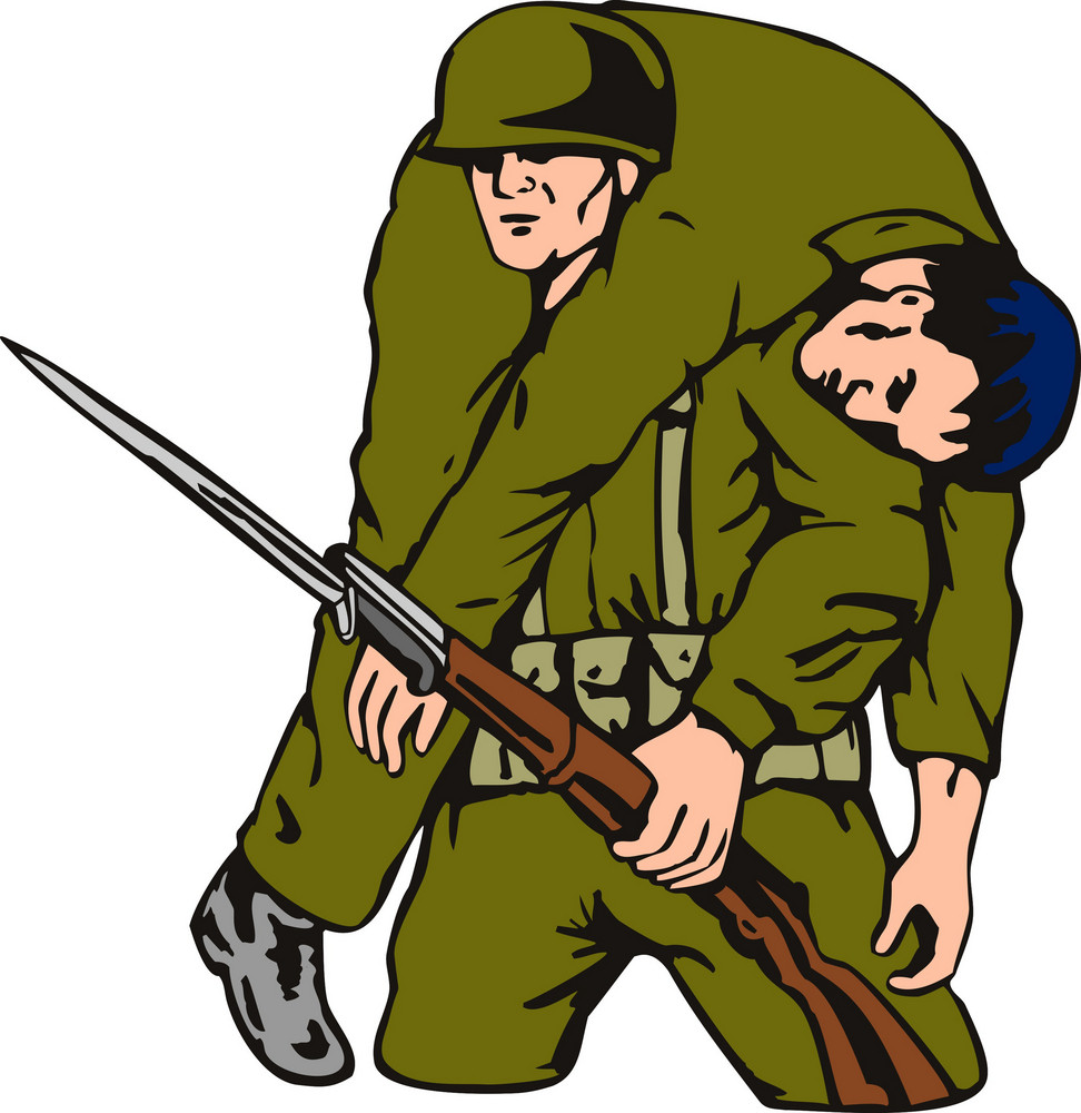 Soldier Carrying Wounded Comrade