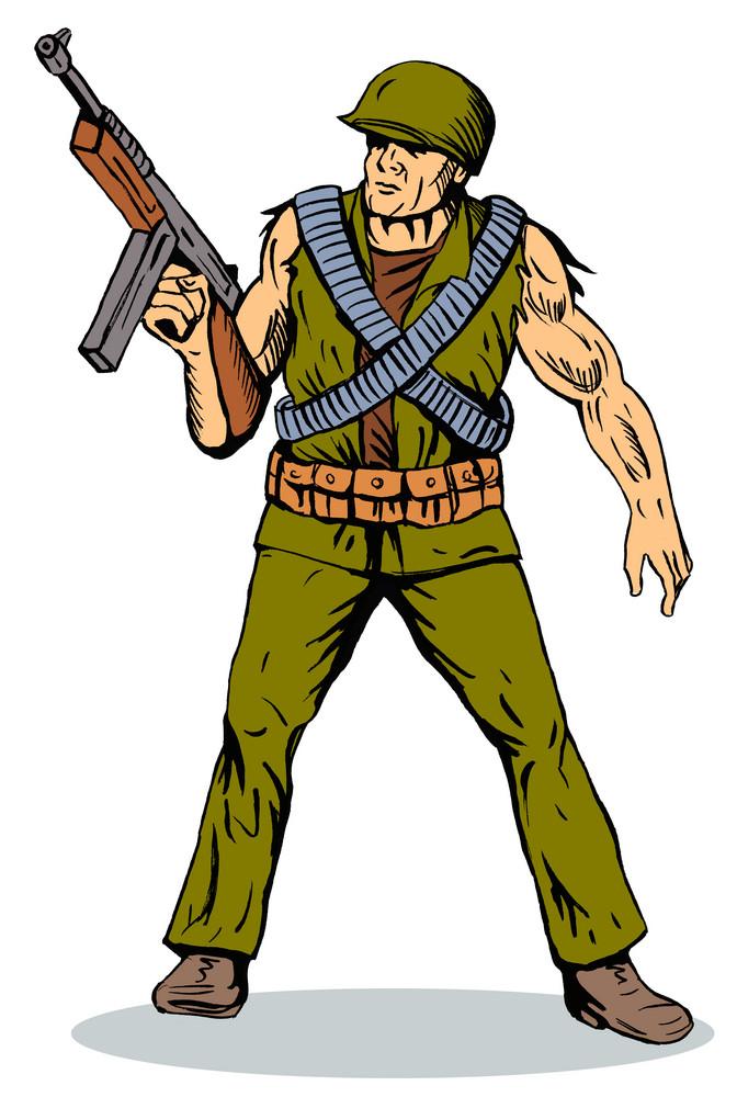 Soldier Holding Machine Gun