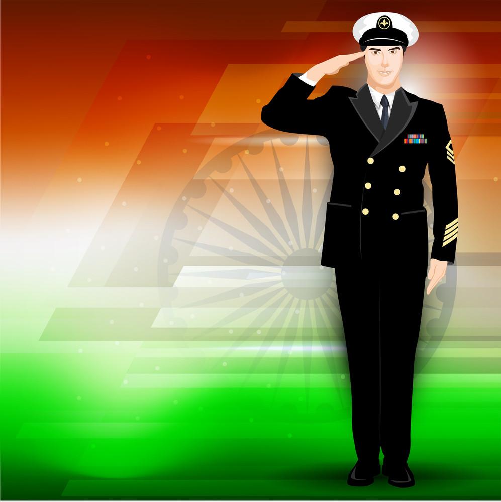 Soldier On Indian Flag Color Background.