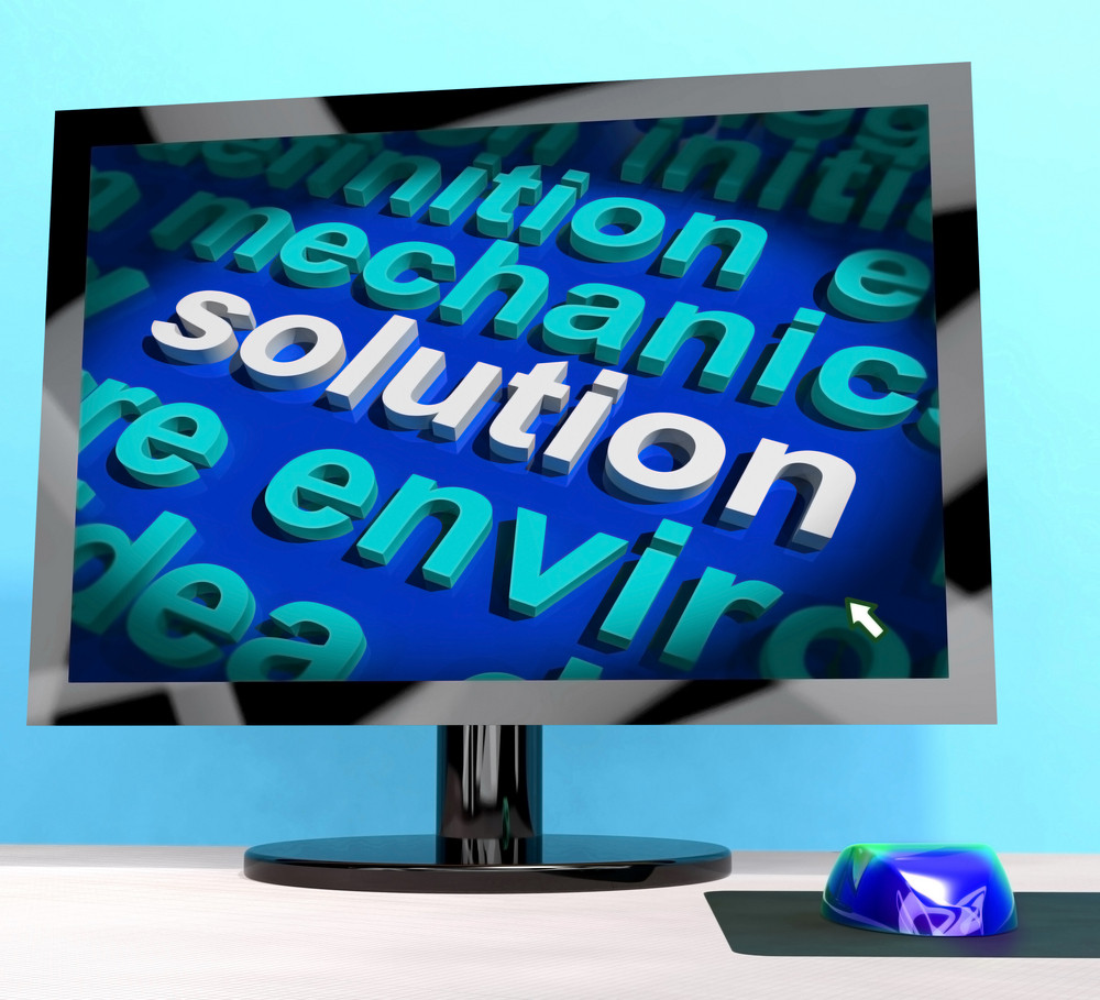 Solution Word On Computer Showing Success And Achievement