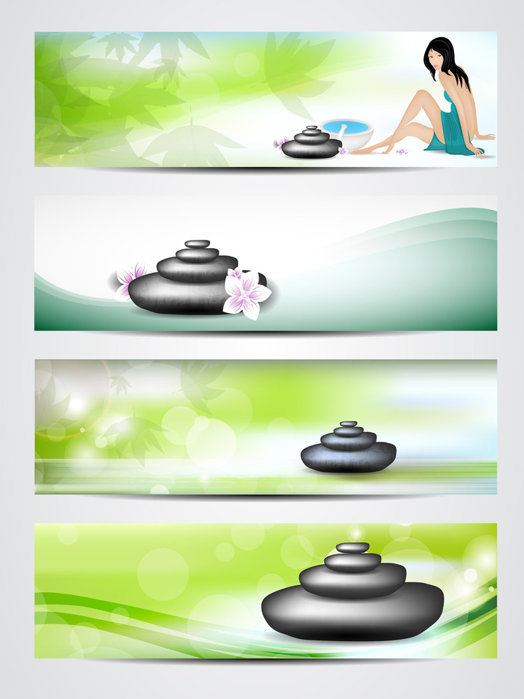 Spa Website Header Or Banner With Stones Decorated With Leaves.