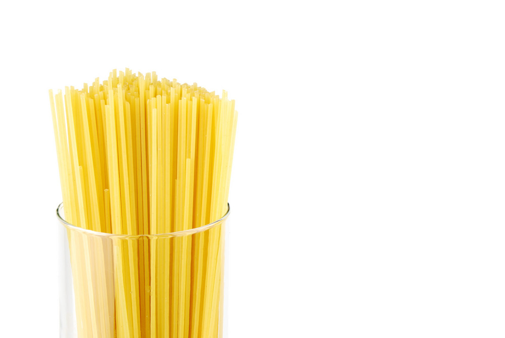 Spaghetti Pasta On A Glass Container
