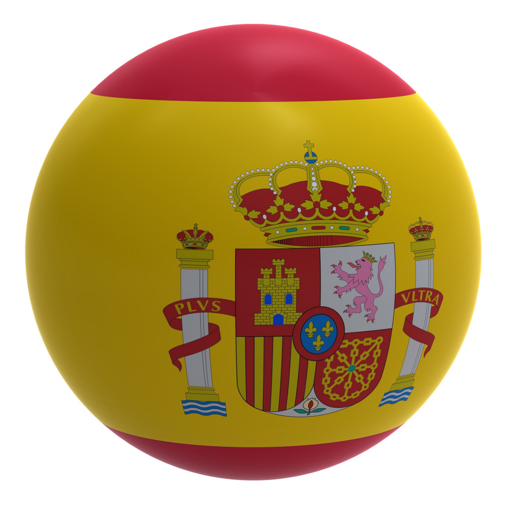 Spain Flag On The Ball Isolated On White.