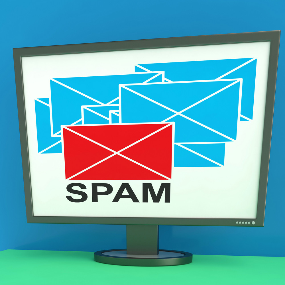 Spam Envelope On Monitor Shows Junk Mail