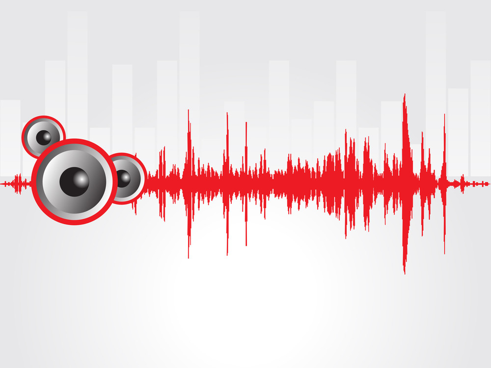 Speaker And Red Graph Isolated On Gray