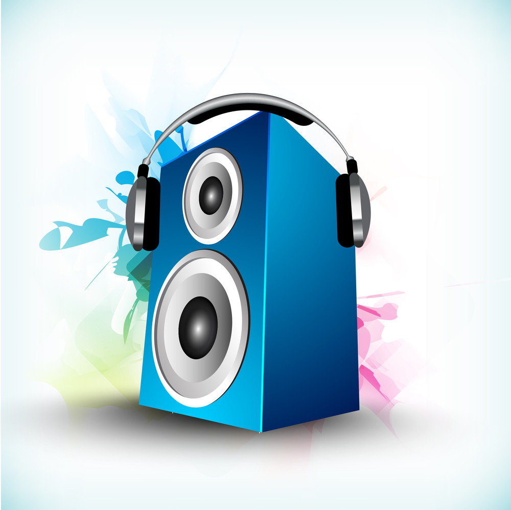 Speaker With Headphone On Colorful Abstract Background.