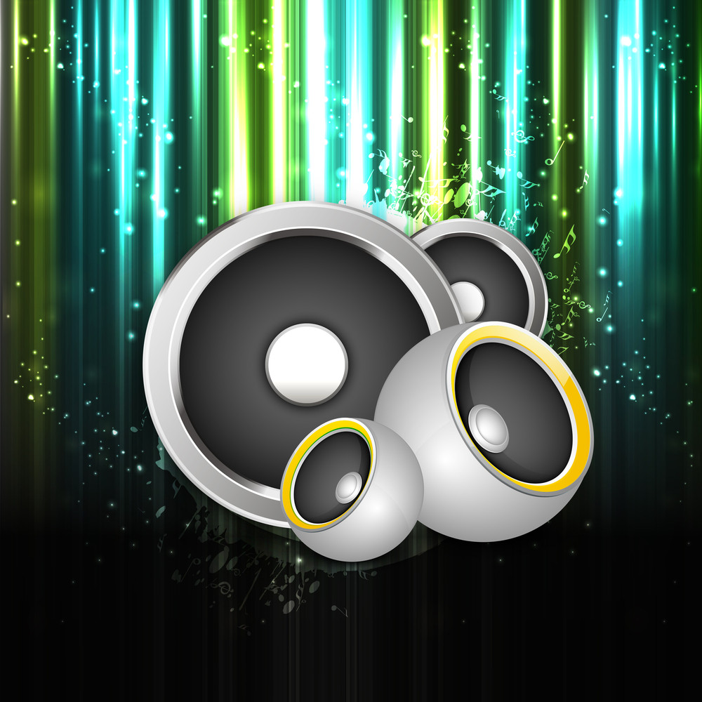Speakers On Shiny Abstract Background