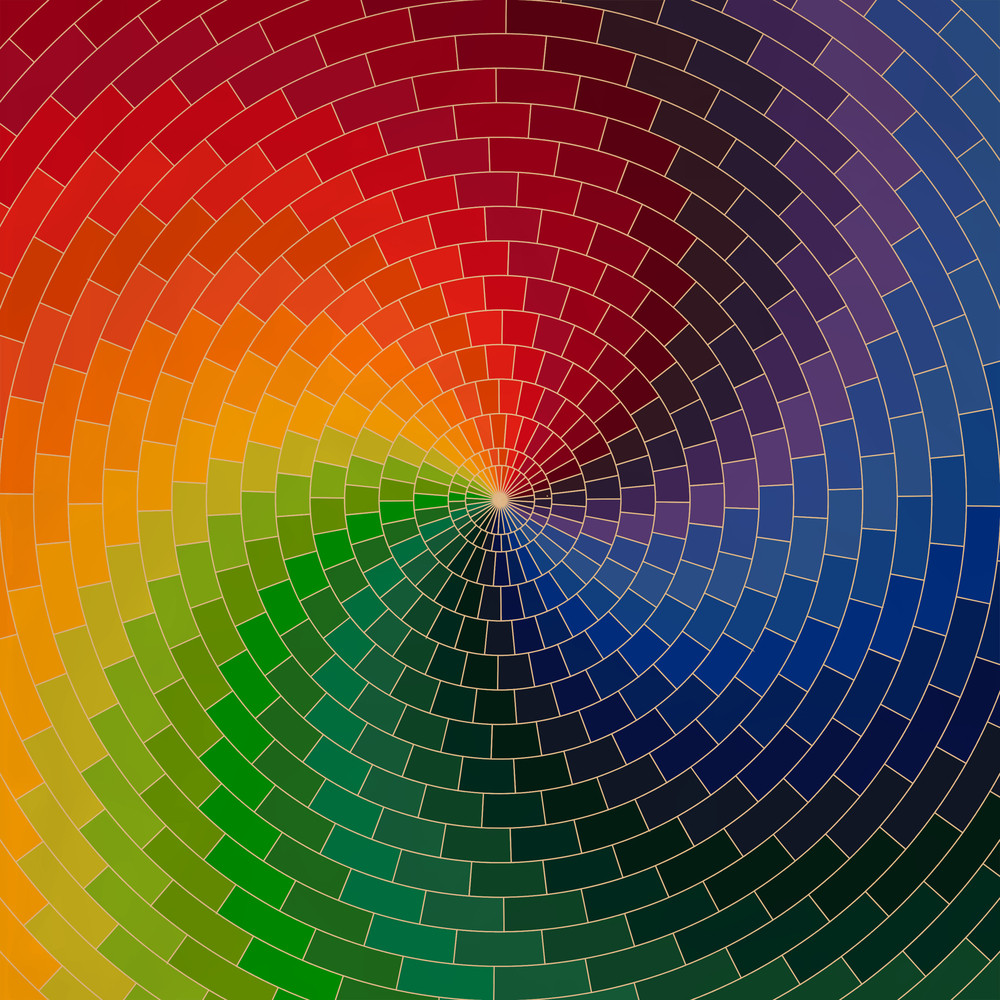 Spectrum Wheel Made Of Bricks. Rainbow Color Spectrum Grunge Background. Square Composition With Geometric Color Flow Effect.