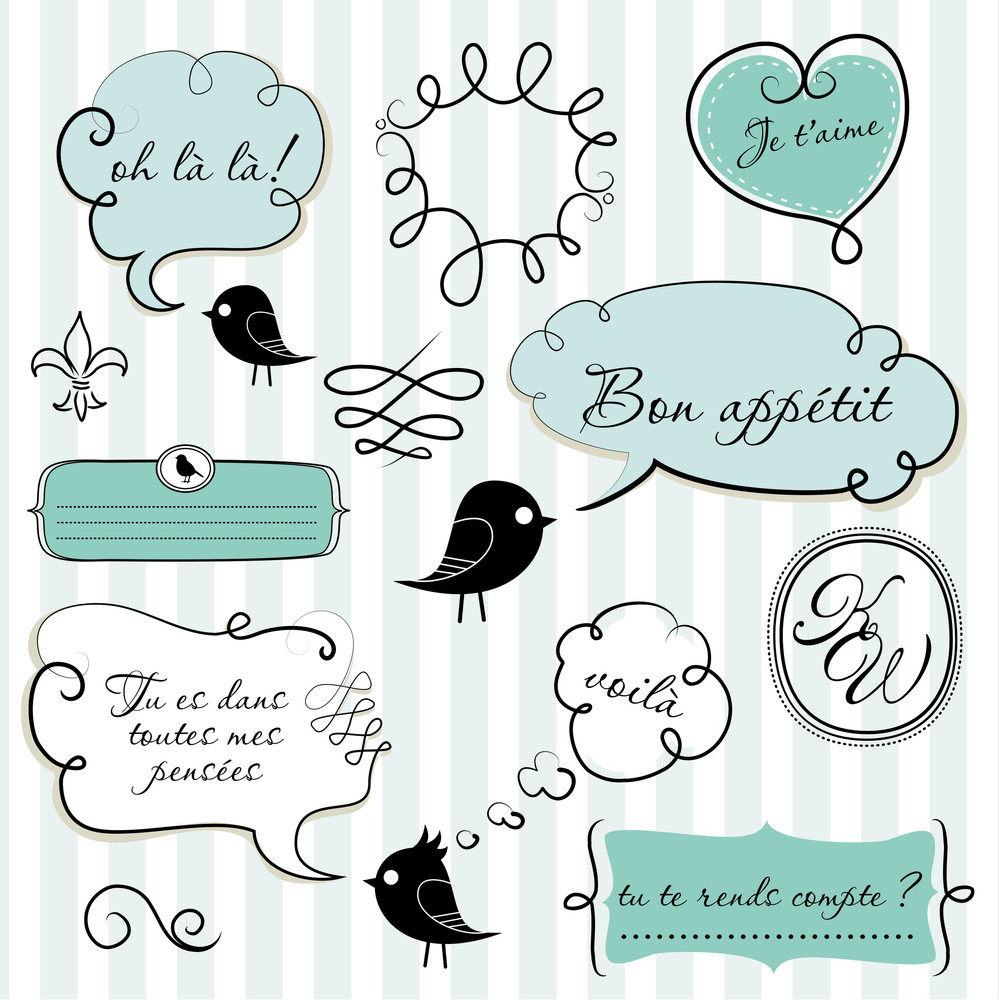 Speech Bubbles Set In French Style