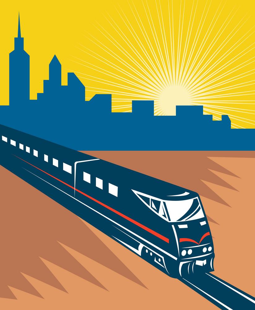 Speeding Passenger Train City Skyline