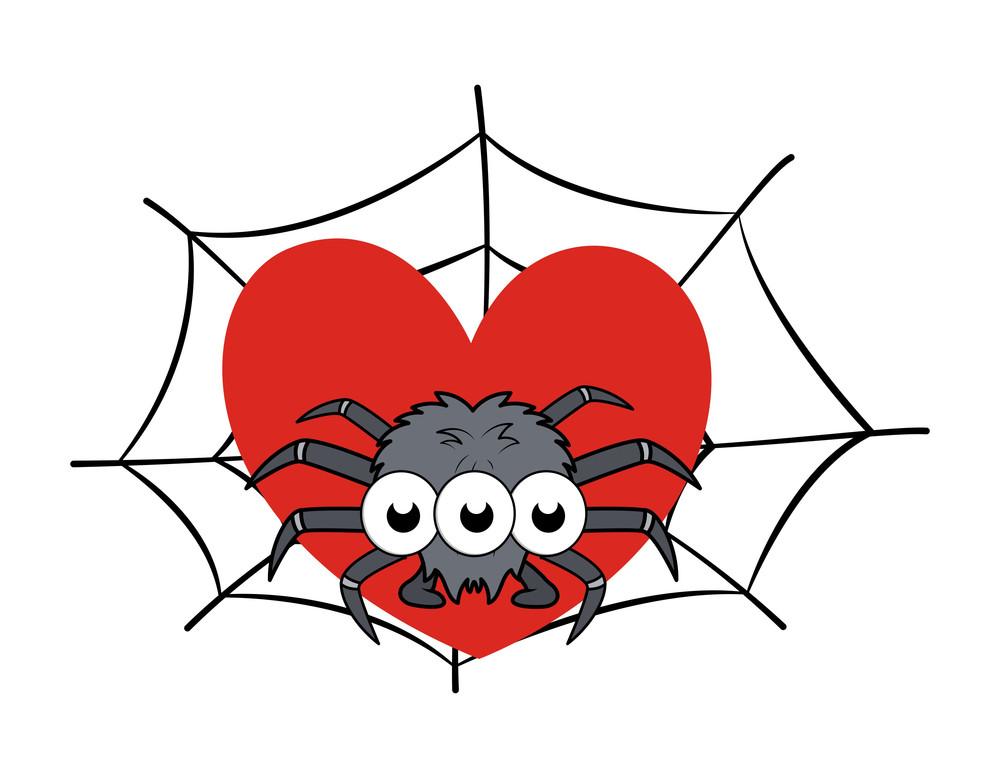 Spider On Web Showing Heart - Halloween Vector Illustration
