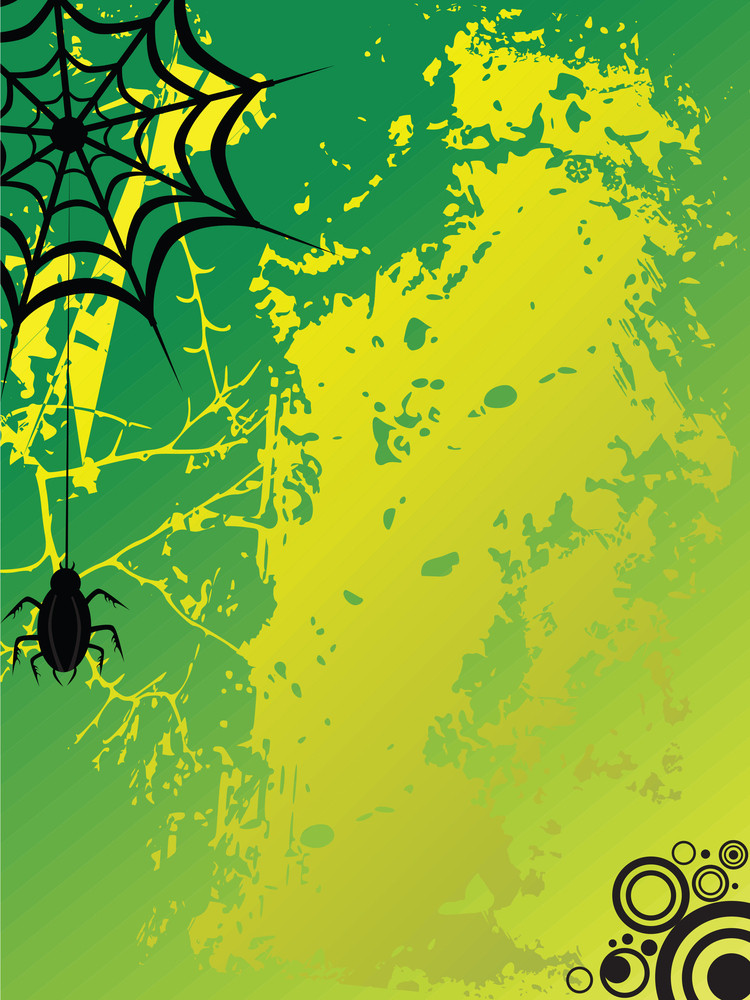 Spider With Grungy Background In Green