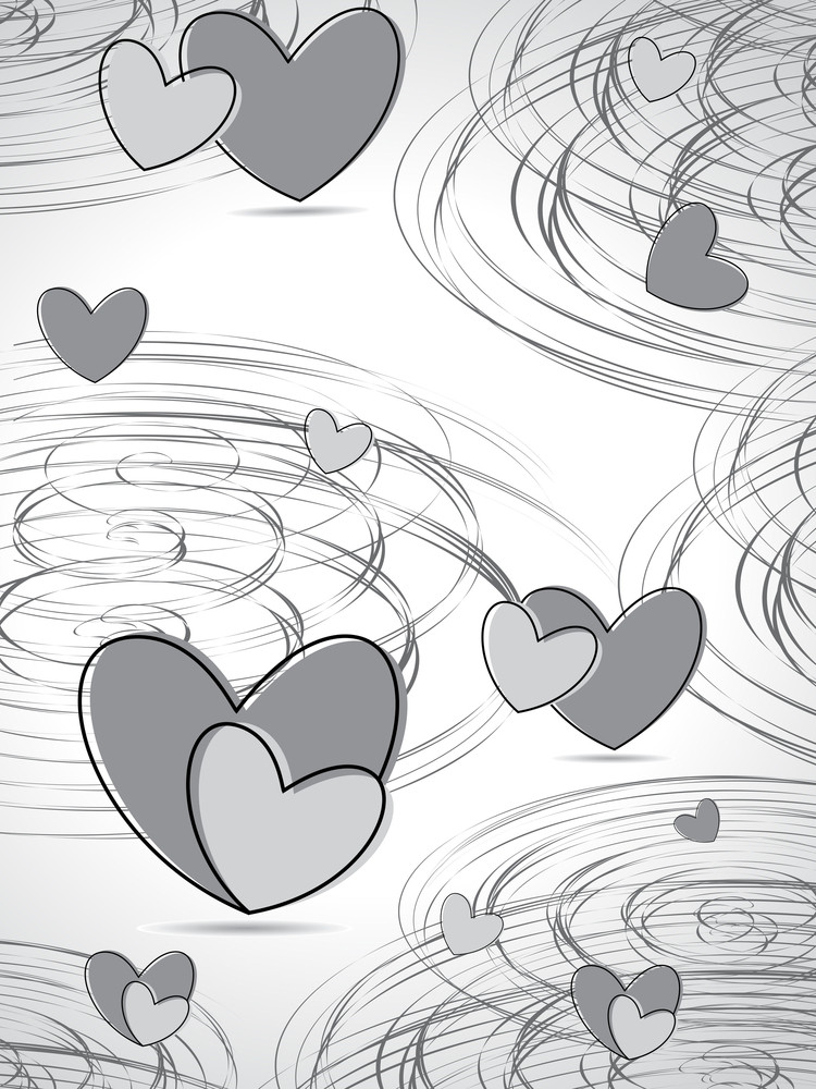 Spiral Background With Grey Hearts